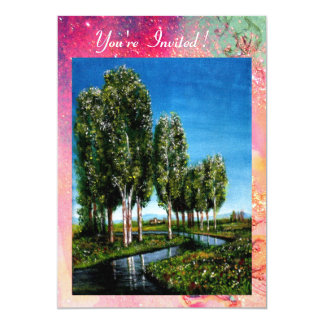 BIRCH TREES IN TUSCANY,green pink gold sparkles Card