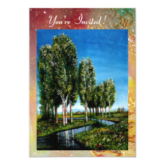 BIRCH TREES IN TUSCANY,green red  gold sparkles Card
