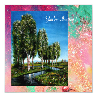 BIRCH TREES IN TUSCANY, pink green gold sparkles Card