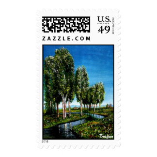 BIRCH TREES IN TUSCANY STAMP