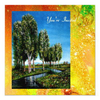 BIRCH TREES IN TUSCANY,yellow green gold sparkles Card
