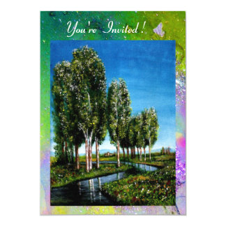 BIRCH TREES IN TUSCANY,yellow green purple sparkle Card