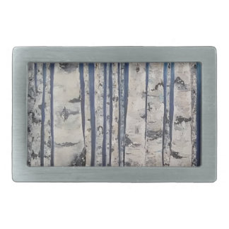 Birch trees Morse Code Rectangular Belt Buckle