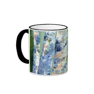 Birch Trees Ringer Coffee Mug
