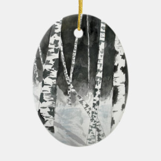 Birch trees painting gifts ceramic ornament