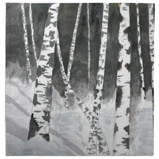 Birch trees painting gifts cloth napkin