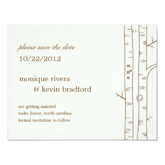 """Birch Trees Save The Date Announcement - Sketchy 4.25"""" X 5.5"""" Invitation Card"""