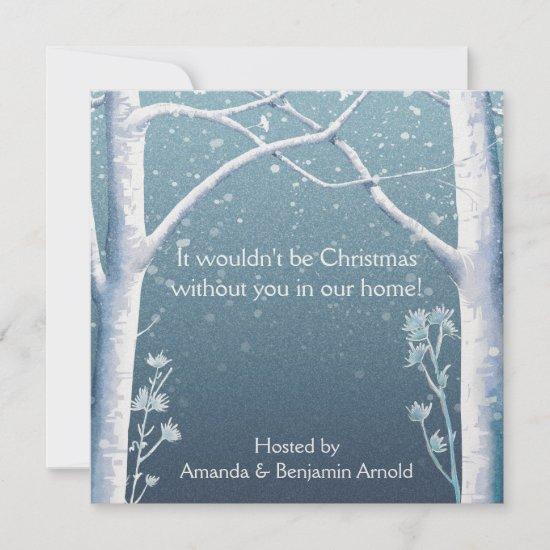 Birch Trees Snow Holiday Invitation