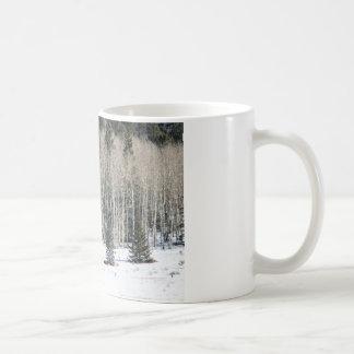 Birch trees snow landscape White Mugs