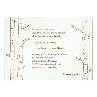 "Birch Trees Wedding Invitation - Sketchy 5"" X 7"" Invitation Card"