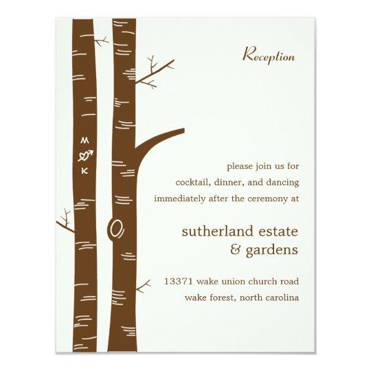 Birch Trees Wedding Reception Card - Almond