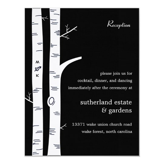 Birch Trees Wedding Reception Card - Black