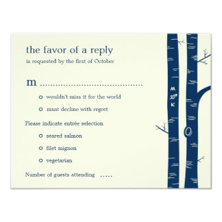 Birch Trees Wedding RSVP Card with entrée - Navy