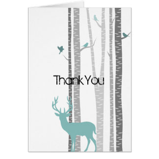 Birch Trees with Deer Card