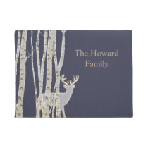 Birch Trees with Deer Custom Door Mat