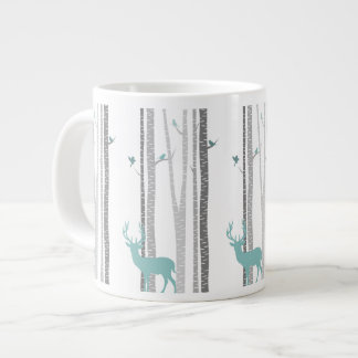 Birch Trees with Deer Large Coffee Mug