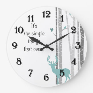 Birch Trees with Deer Simple Things Count Large Clock