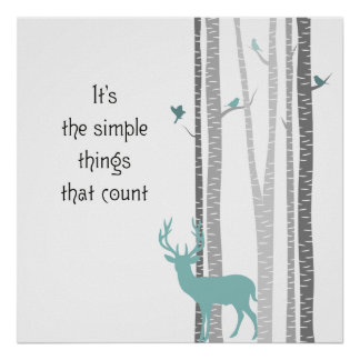 Birch Trees with Deer Simple Things Count Poster