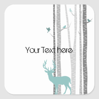 Birch Trees with Deer Square Sticker