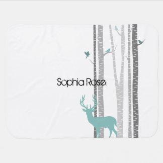 Birch Trees with Deer Stroller Blanket