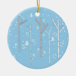 Birch Trees with Falling Snow Ceramic Ornament