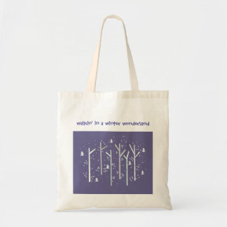 Birch Trees with Falling Snow Tote Bag