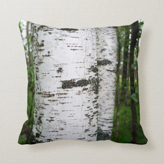 Birch trunk throw pillow