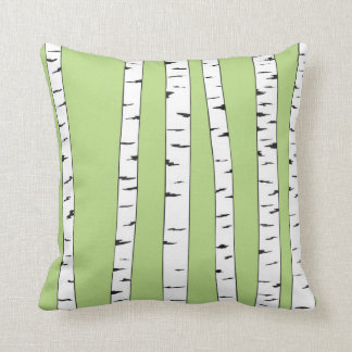 Birch Trunks on Green Throw Pillow