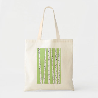 Birch Trunks on Green Tote Bag
