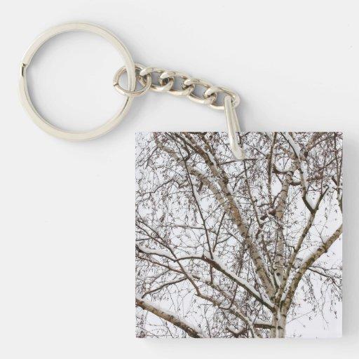 birch with snow acrylic key chains