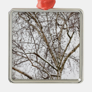 birch with snow metal ornament