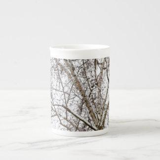 birch with snow bone china mugs