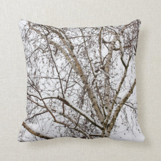 birch with snow throw pillow