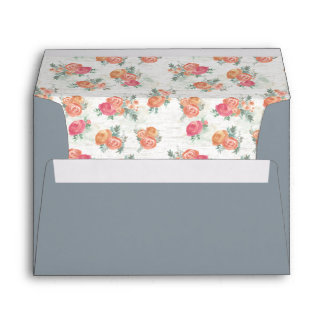 Birch Wood and Roses Steel Blue Envelope