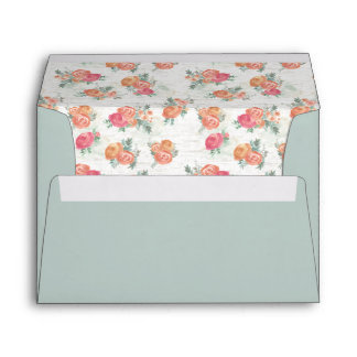 Birch Wood and Roses Winter Sage Envelope