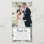"""Birch Wood Bark Wedding Photo Thank you Cards<br><div class=""""desc"""">Add a personal touch to your wedding thank you card by adding your own wedding picture. Keep the thank you message the same or personalize it with your own message. Add your names at the bottom of the card.</div>"""
