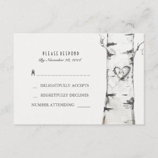 Birch Wood Heart Rustic Wedding RSVP Cards