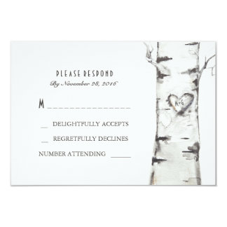 Birch Wood Heart Rustic Wedding RSVP Cards