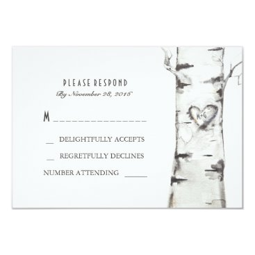 Valentines Themed Birch Wood Heart Rustic Wedding RSVP Cards