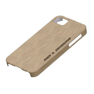 Birch wooden look, add name custom iPhone SE/5/5s case