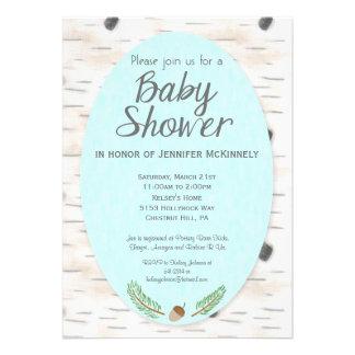Birch Woodland Hand Drawn Baby Shower Invitation