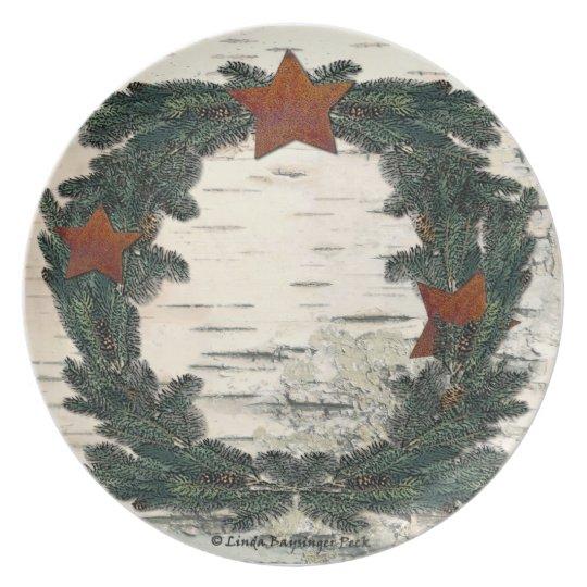 Birchbark Rusted Stars Pine Branches Melamine Plate