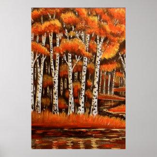Birches Autumn Landscape Poster