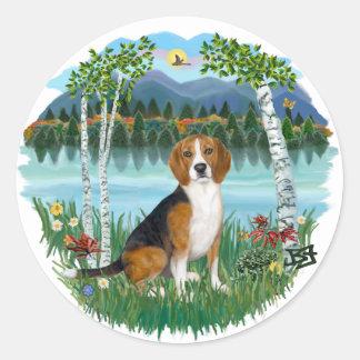 Birches - Beagle 7 Classic Round Sticker
