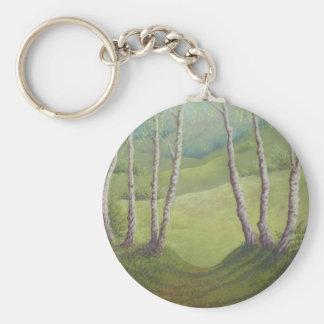 Birches in Spring, Walton Heath in Pastel Key Ring Basic Round Button Keychain
