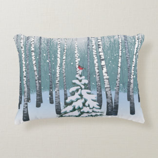 Birches In The Winter Forest Accent Pillow