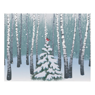 Birches In The Winter Forest Panel Wall Art