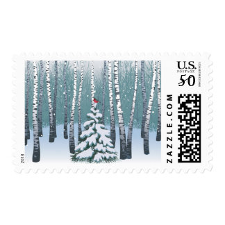Birches In The Winter Forest Postage