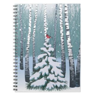 Birches In The Winter Forest Spiral Notebook