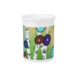 Birches Landscape Art Image Drink Pitcher